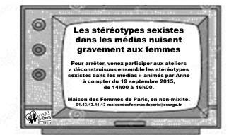 Affiche atelier stéréotypes sexistes médias