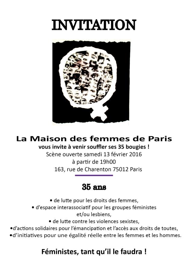 Invitation 35 ans de la Maison des Femmes de Paris samedi 13 février 2015