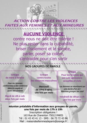 Action contre les violences masculines faites aux femmes Maison des Femmes de Paris