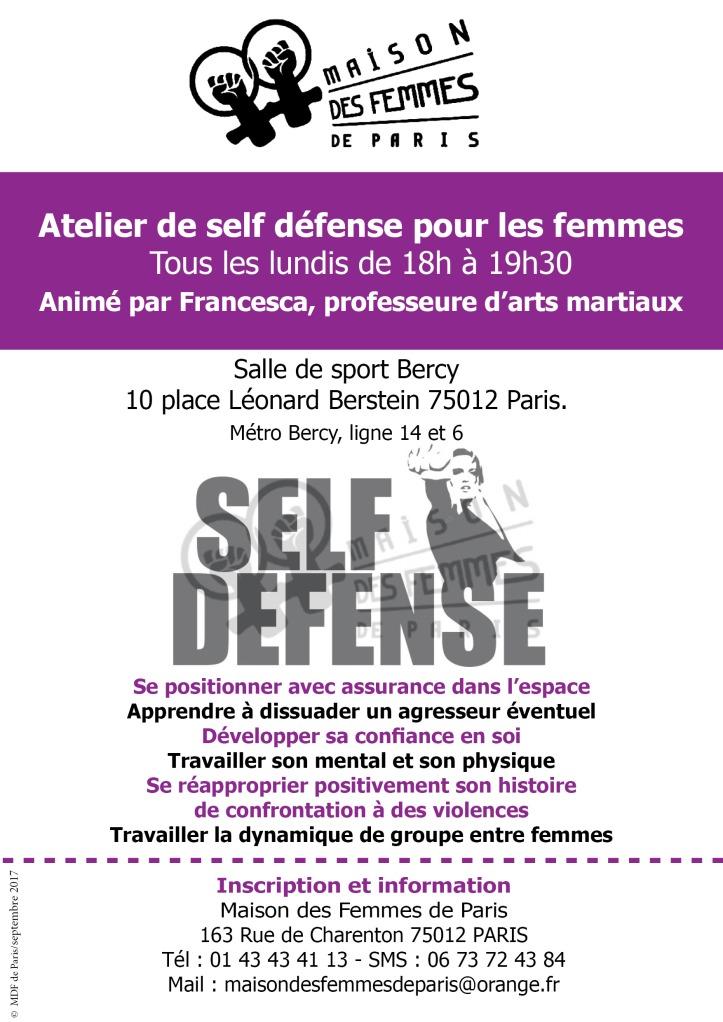 Atelier self défense Maison des Femmes de Paris 2017