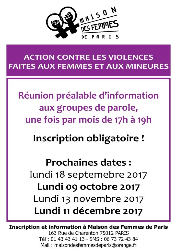 Date 2017 des réunions d'info préalable aux groupes de Parole Action contre les violences masculines
