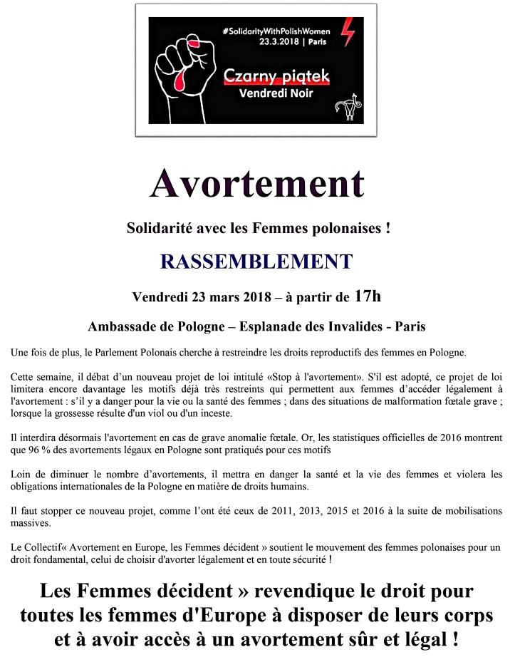 avortement pologne rassemblement vendredi 23 mars à 17h