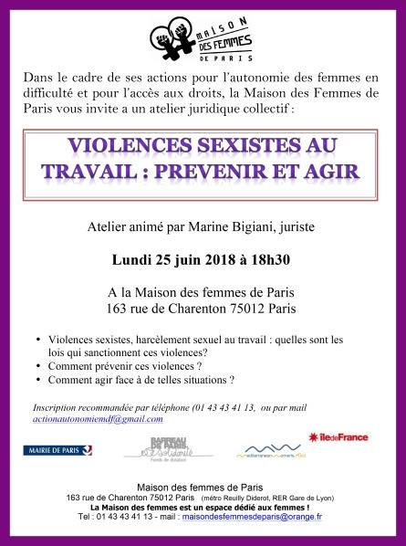 violences travail 25 juin 2018